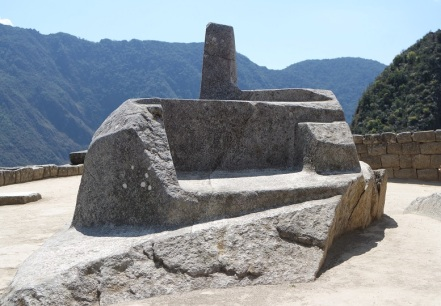 "The Intiwatana stone (meaning 'Hitching Post of the Sun') is a ritual stone in South America associated with the astronomic clock or calendar of the Inca. It has been shown to be a precise indicator of the date of the two equinoxes and other significant celestial periods. At these periods, the Incas held ceremonies at the stone in which they ""tied the sun"" to halt its northward movement in the sky."