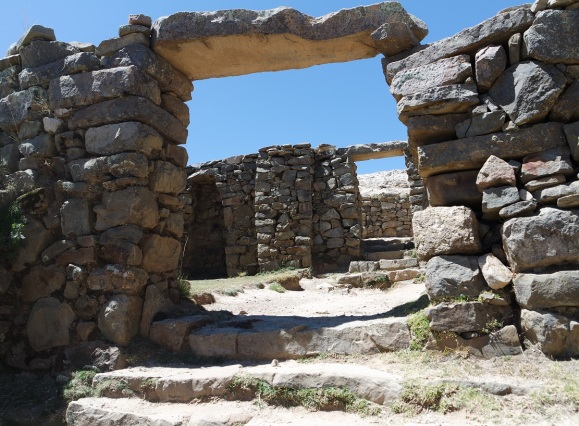 The multiple doorways of the the Chincana Ruins that was built on the island of the Sun