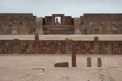 "Temple of Kalasasaya (""Place of the Vertical Stones"") at Tiwanaku. Tiwanaku is located near the southern shores of Lake Titicaca on the Altiplano, at an altitude of 3,850 m., in the Province of Ingavi, Department of La Paz."