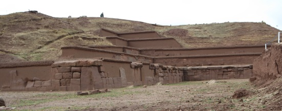 The most imposing monument at Tiwanaku is the Pyramid of Akapana. It is a pyramid originally with seven superimposed platforms with stone retaining walls rising to a height of over 18m.